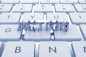 Actoion text on computed keyboard — Stock Photo