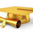 Golden graduation cap with diploma — Stock Photo