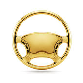 Golden steering wheel — Stock Photo