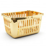 Golden shopping basket — Stock Photo