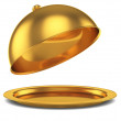 Opened golden cloche — Stock Photo