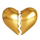 Golden broken heart — Stock Photo
