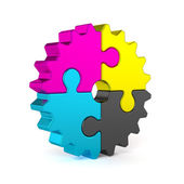CMYK puzzle jigsaw gear — Stock Photo
