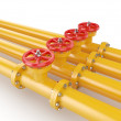 Orange oil pipes with red valve — Stock Photo #50225409