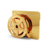 Golden clapper board with film reel — Stock Photo
