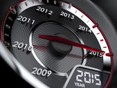 2015 year car speedometer — Stock Photo