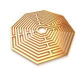 Golden maze isolated — Stock Photo