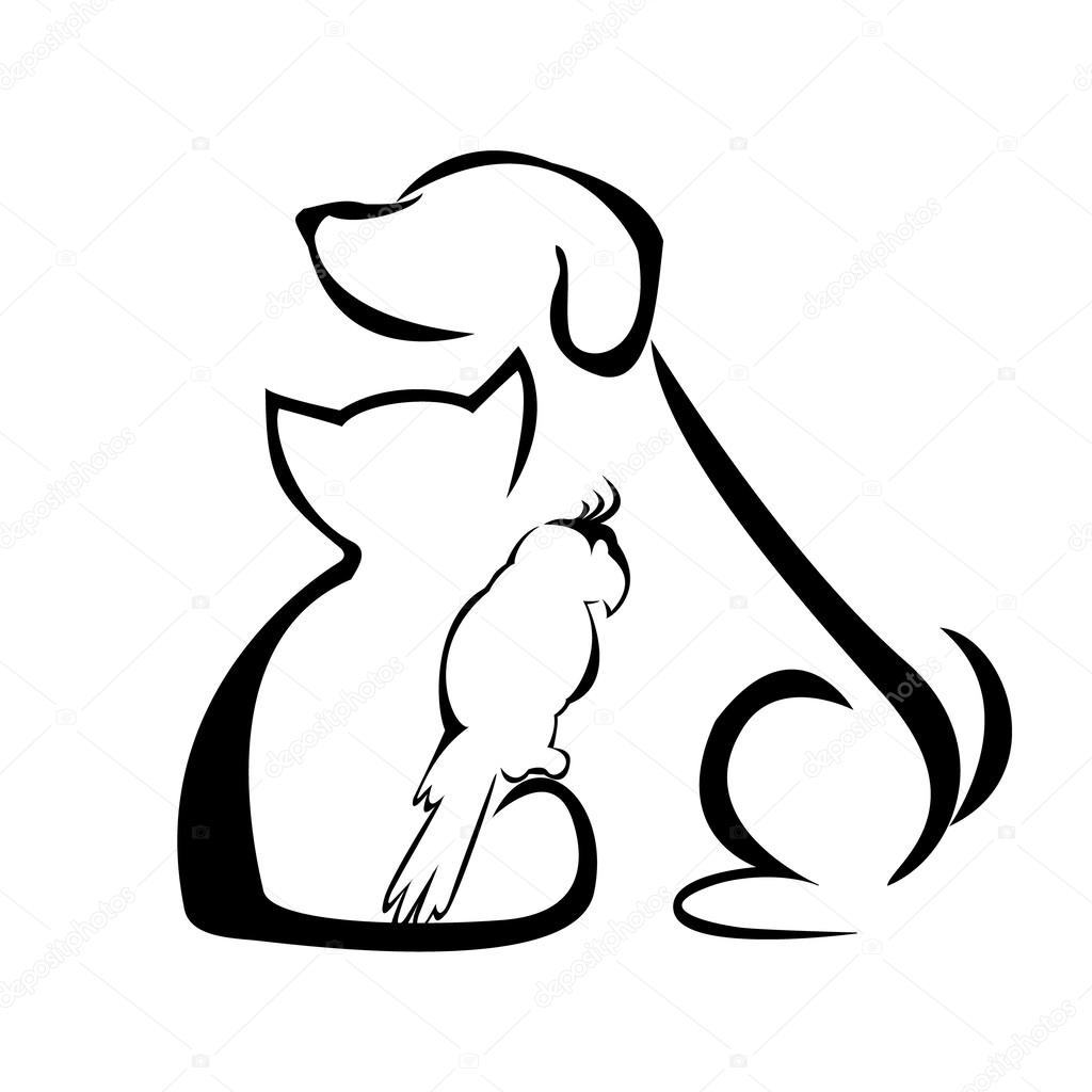 dog and cat outline