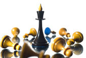 Chess the queen wins victory — Stock Photo