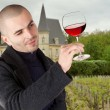 Stock Photo: Male winemaker holding up glass of wine for checking consistency of his creation