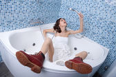 Woman bathing — Stock Photo