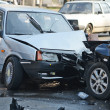 Auto accident involving two cars on a city street — Stock Photo