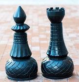 Chess figures outdoor — Stockfoto