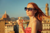 Woman and view — Stock Photo