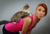 With cat — Stock Photo