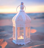 Romantic white lantern — Stock Photo