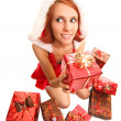 Funny santa girl — Stock Photo