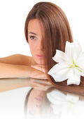 Retrato com a lily — Foto Stock