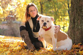 Woman with pet — Stock Photo