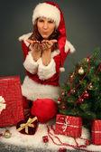 Christmas kiss — Stock Photo