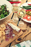 Alcohol and food — Stock Photo