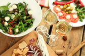 Lunch with wine — Stock Photo