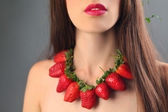 Berries in hair — Stock Photo