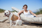 Relaxing with dog — Stock Photo