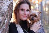 Female with dog — Stock Photo