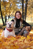 With dogs in park — Stock Photo