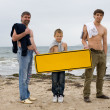 Men hold an empty banner — Stock Photo