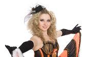 Beautiful blonde girl dancing cancan. — Stock Photo