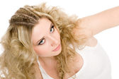 Beautiful young blonde girl with stylish hair — Stock Photo