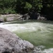 Rapid flow of the mountain river in a wild area. — Stock Video