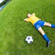Dreaming boy soccer player  — Stock Photo