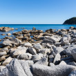 Wild rocky sea coastline. Japan sea. — Stock Photo