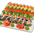Traditional Japanese rolls of seafood of six types. — Stock Photo