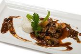 Baked beef fried shrimp — Stock Photo