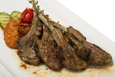 Grilled lamb loin and vegetable ratatouille. — Stock Photo