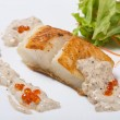 Fried halibut fillet with pepper sauce with salmon caviar. — Stock Photo #34845695