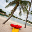 Boats on the beach of Sentosa Island in Singapore. — Stock Photo