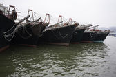 Fishing boats are at the pier in the port of Macau — Stock Photo