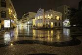 Night view in rain on the Historic Centre of Macao - Senado Squ — Stock Photo