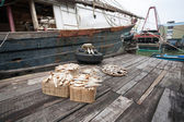Dried fish on the pier at the fishing port of Macao. — Stock Photo