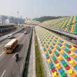 Stock Photo: Track and spectator stands for Macau Grand Prix.