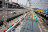 Track and spectator stands for the Macau Grand Prix. — Stok fotoğraf