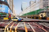 Safety barriers installed along for racing Macau Grand Prix — Stock Photo
