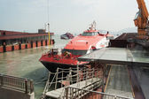 Ferry Turbojet at berth marine terminal Macau. — Stock Photo