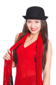 Asian girl in a black hat — Photo