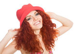 Portrait smiling girl with red hair  — Stock fotografie